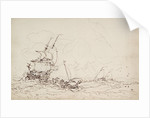 Study for a painting with 17th century shipping by Oswald Walter Brierly