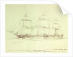 Study of HMS 'Amethyst' with notes about sail plan by William Lionel Wyllie