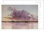 Study of a small sailing vessel at anchor at sunset by William Lionel Wyllie