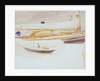 Study of the deck of a yacht with sketch of yacht, less detailed, below by William Lionel Wyllie