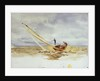 Close-hauled heeling sailing dinghy by William Lionel Wyllie