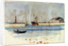 Quay with warehouse, steam vessel and figures, and rowing boat in foreground by William Lionel Wyllie
