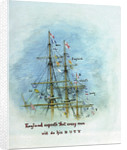 Three masts and rigging showing the flag signal 'England expects that every man will do his duty', annotated by William Lionel Wyllie