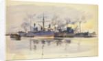 Sketch of merchant ships in port by William Lionel Wyllie