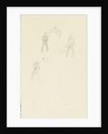 Three slight sketches of figures making flag signals by William Lionel Wyllie