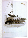 No 4 Lifting the 110 ton gun on board HMS 'Victoria' by William Lionel Wyllie
