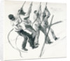 Sketch of four seamen pulling on ropes, loading coal? by William Lionel Wyllie