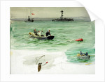 Sailors in a rowing boat retrieving an object from the sea by William Lionel Wyllie
