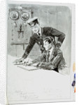 Radio operator and officer in radio room annotated with names and addresses of subjects, with the same image outlined on reverse by William Lionel Wyllie