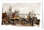 Vessels moored beside a river possibly the Thames, with bridge and large buildings outlined in background by William Lionel Wyllie
