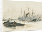 Passenger vessel 'Oruba' or 'Orotava' with barges in the foreground by William Lionel Wyllie