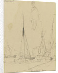 Grand Quai, Havre with a sketch of a uniformed figure by Edward William Cooke