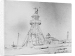 Lowestoft lighthouse, a detailed study, with a beach yawl and other craft, and a pile of ballast pigs in the foreground by Edward William Cooke