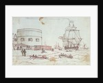Sketch of a naval vessel the Tweed entering Portsmouth, with figures in rowing boats and on the shore in the foreground, and women hanging out washing, with inscriptions by Henry Moses