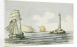 A Dutch Galliot, a Spanish felucca, a French Chasse-maree off the Eddystone lighthouse by Henry Studdy