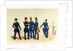 The midshipman, frigate captain, Naval artillery captain and infantry lieutenant, and Lieutenant of the Marine Engineer Corps standing in a portside scene by Franz Gerasch