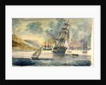 British man of war in a Mediterranean anchorage by D. Tandy