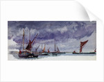 Sailing vessels at anchor under a stormy sky (unfinished) by William Lionel Wyllie