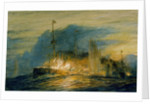Rear Admiral Cradock's flagship, HMS 'Good Hope' (1901), on fire before blowing up at the battle of Coronel, 1 November 1914 by William Lionel Wyllie