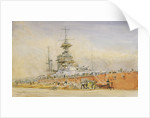 'Princess Royal' in dry dock at Portsmouth after the Battle of Jutland, 1916 by William Lionel Wyllie
