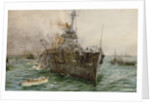 HMS 'Audacious' sinking off Loch Swilly after striking a mine, 27 October 1914 by William Lionel Wyllie