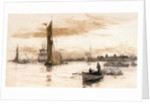 Greenwich with barges and other craft. by William Lionel Wyllie