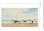 Fishing boats near a beach by William Lionel Wyllie