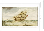 Naval sailing vessel underway, with inscription, 'Carrying Sail In Chase' by Edward Bamfylde Eagles