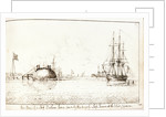 His Majesty's Ship Barham hove down by His Majesty's Ship Shannon at the Island of Curacoa by Lt Edward Bamfylde Eagles