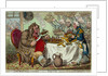 John Bull taking a Luncheon: - or - British Cooks, cramming Old Grumble-Gizzard, with Bonne-Chere by James Gillray