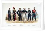 Marines: Commissaire de Marine. Artillerie de Marine (Lieutenant). Equipages de Ligne (Matelot and Quartier-Maitre). Ecole Navale. Gendarmerie Coloniale by de Villain