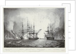 'Hanhoute' and 'Azoff', with explosion of a Turkish frigate, at the Battle of Navarino, 20 October 1827 by George Philip Reineagle