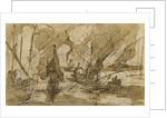 Galleys in a Mediterranean harbour by Italian School