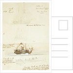 Four sketches of HM Survey ship 'Merlin', 9 May 1856 by Oswald Walter Brierly