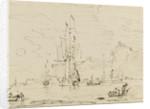 Sketch of shipping off a high coast by Samuel Scott