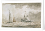 A dismasted Dutch man of war by Charles Gore