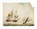 A frigate off Gibraltar by J. Richbell
