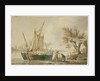 A river scene with fishing boats and fishermen sorting their nets on shore. by John Thomas Serres