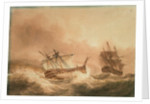 The 'Vanguard' disabled and in tow by the 'Alexander', 22 May 1798 by Nicholas Pocock