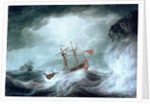 A storm, with an anchored ship in distress off rocky coast by Nicholas Pocock