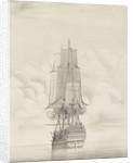A frigate firing a gun by George Chambers Sr