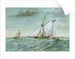 Revenue cutter chasing a lugger, circa 1830 showing 'revenue stripes' by unknown