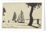 Sailing vessels near a river bank with a tree by John Everett