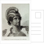 A man of the Sandwich Islands with his helmet by John Webber