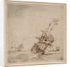 An English flagship scudding in a heavy sea by Willem Van de Velde the Younger
