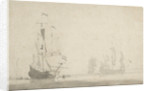 Dutch ships becalmed by Willem Van de Velde the Younger