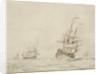 A Dutch flagship shortening sail by Willem Van de Velde the Younger