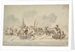 A fight in boats with Barbary pirates by Willem Van de Velde the Younger