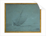 A hoy close-hauled in a strong breeze by Willem Van de Velde the Younger