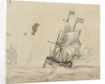 A Dutch flagship with the wind on the quarter by Willem Van de Velde the Younger